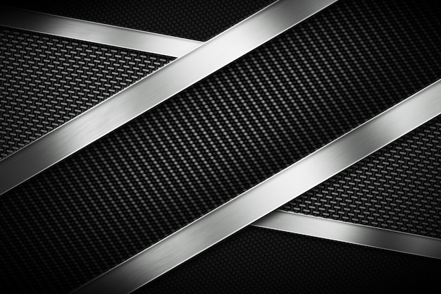 Three types of modern carbon fiber with polish metal plate