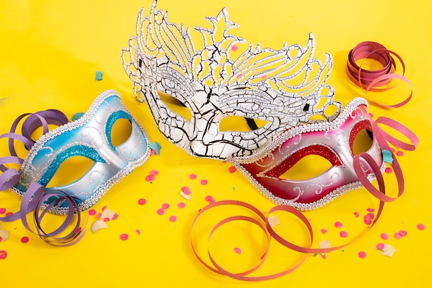 Three venetian masks