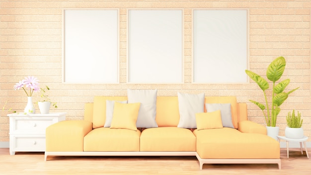 Three vertical photo frame for artwork, yellow sofa on loft room interior design, brick wall design. 3d rendering