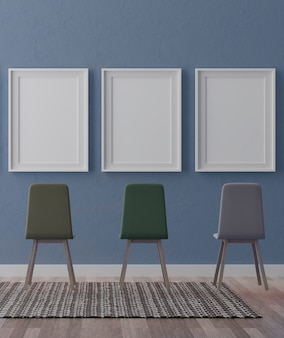 Three vertical white frames on blue wall