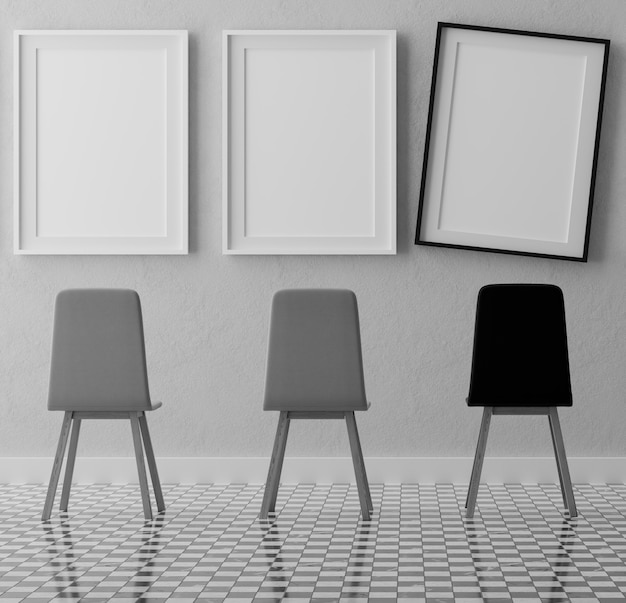 Three vertical white frames and chairs on grey wall