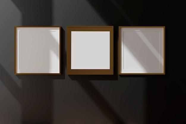 검은 벽에 세 개의 세로 흰색 프레임