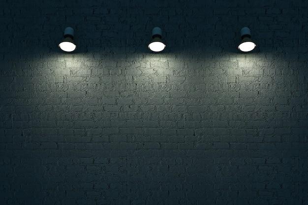 3つの壁ランプが暗いレンガの壁に掛かっています明るい照明は暗い背景の3dグラフィックスを分離しました
