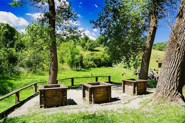 Three wells on the edge of the forest. beautiful landscape