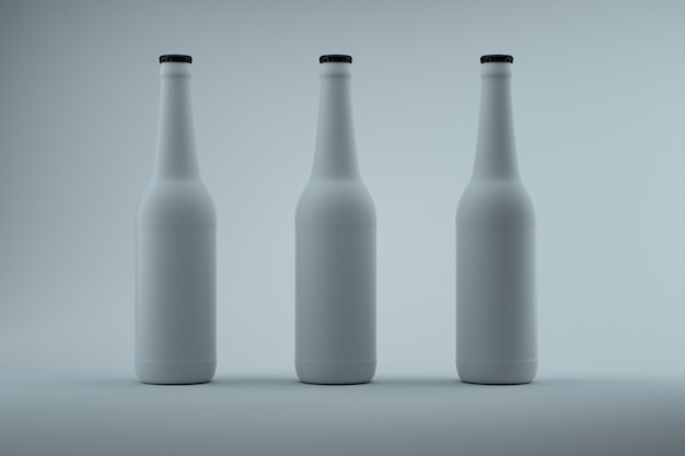 Three white 33cl bottles