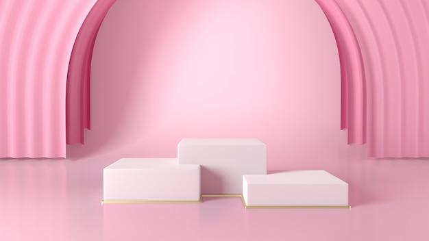 ピンクの背景に3つの白いボックスショーケース表彰台。