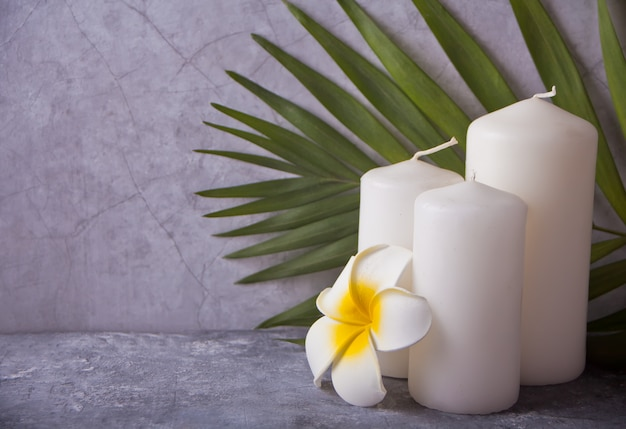 Three white candles, plumeria flower and palm leaf. spa therapy concept. copy space.
