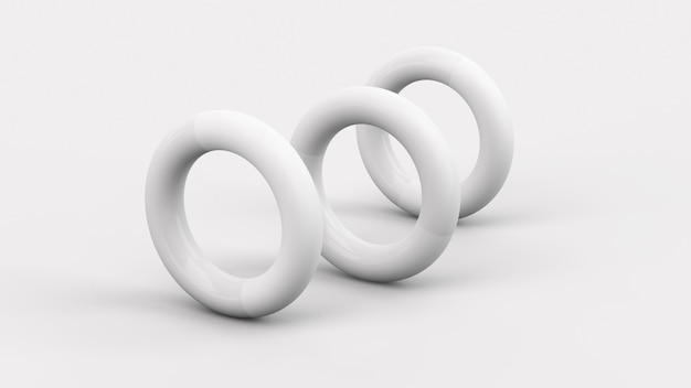 Three white circle shapes white background abstract illustration 3d render
