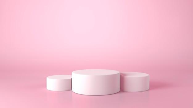 ピンクの背景に3つの白いシリンダーショーケース表彰台。