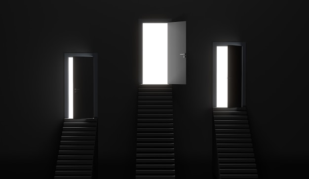 Three white doors and one opened door over stairs. 3d rendering