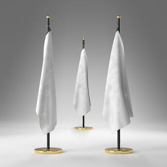 Tre bandiere bianche con piedistallo