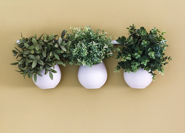 Three white flower pot with flowers hanging on the wall