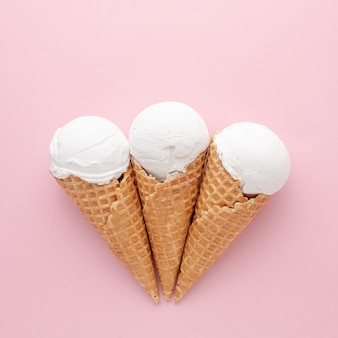 Three white ice creams