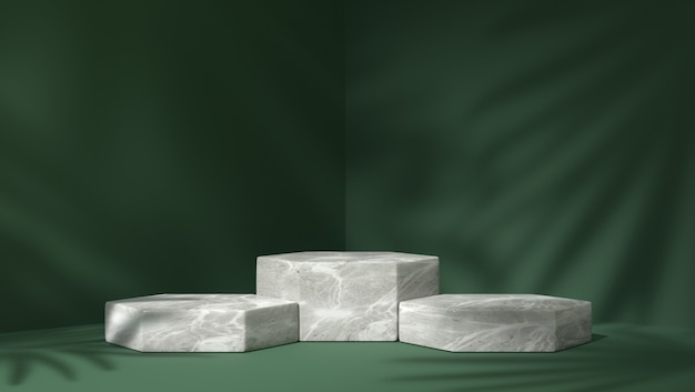 Three white marble hexagon podium for product placement in shadow leaves background