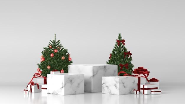 Три белых мраморных подиума с елочными украшениями