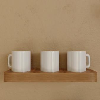 Три белые кружки на деревянный настенный стол