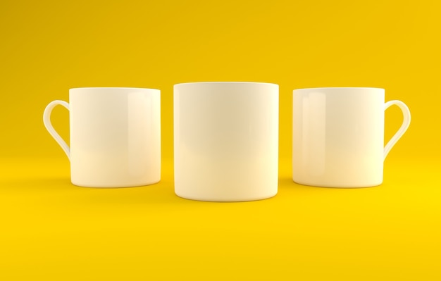 Three white realistic mugs mockup 3d rendered