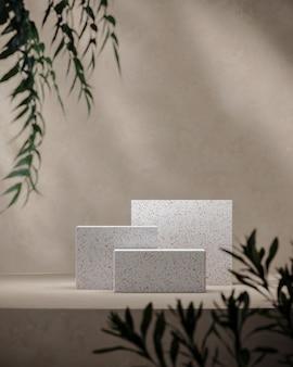 모의 베이지색 장면에 3개의 흰색 테라조, 식물 전경을 흐리게 합니다. 제품 프레젠테이션 또는 광고의 배경입니다. 3d 렌더링