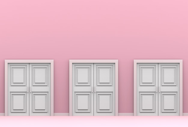 Three white wood doors on pink cement wall background