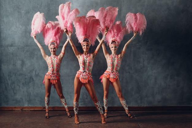 분홍색 깃털 깃털이 달린 삼바 또는 람바다 의상을 입은 세 여성.