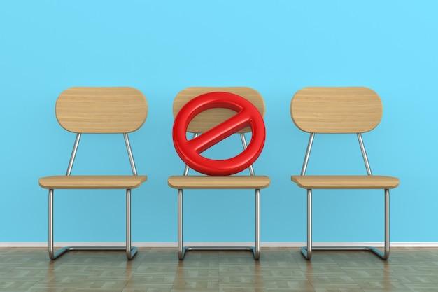 3 개의 나무 의자와 로그인 금지. 사회적 거리두기. 3d 렌더링