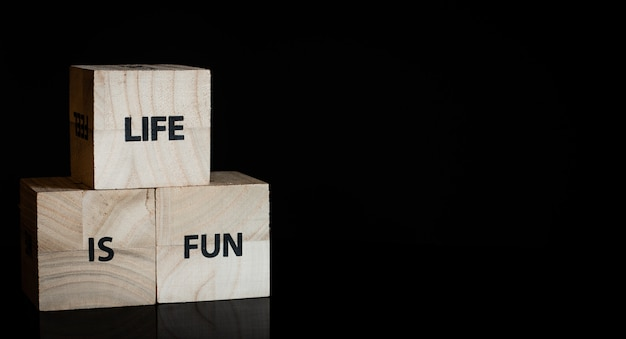 Three wooden cubes - life is fun