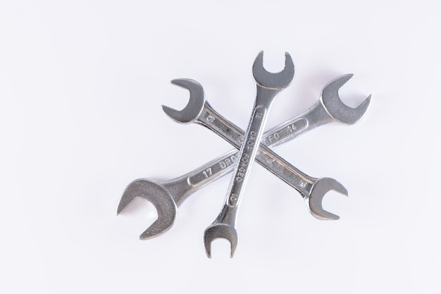 Three wrench isolated in white background