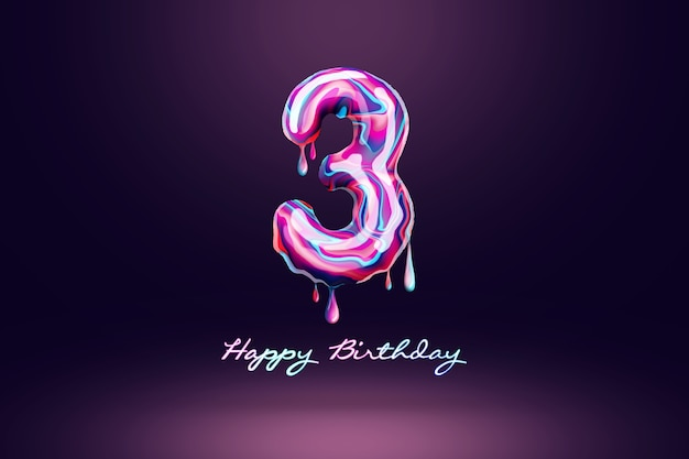 Three year anniversary background, number from pink candy on dark background. concept for happy birthday background, brochure template, party, poster. 3d illustration, 3d rendering.