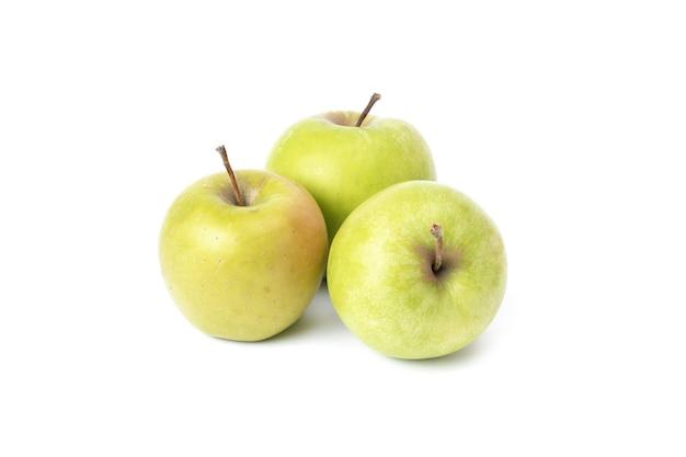 흰색 바탕에 노란색 사과 3개