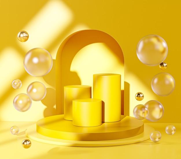 Three yellow pedestal podium stage door glass balls sphere display product 3d rendering Premium Photo
