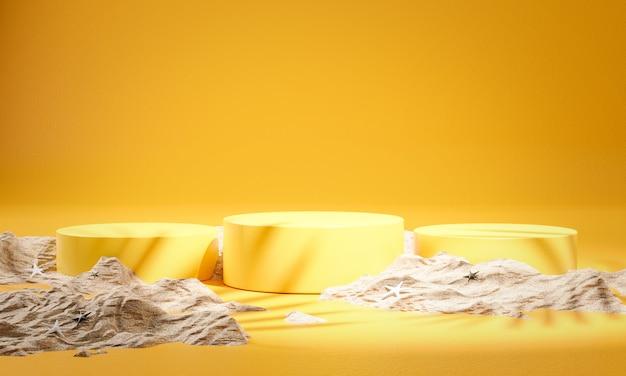 Three yellow podium product display summer sand 3d rendering