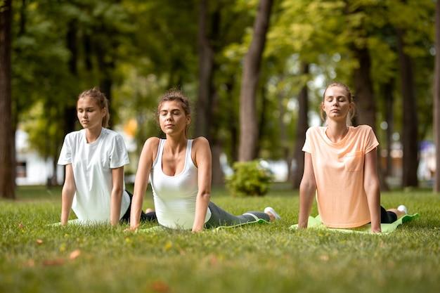 暖かい日に公園の緑の芝生でヨガマットの上でストレッチをしている3人の若い細い女の子。野外でのヨガ。