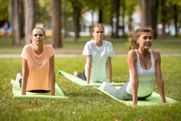 野外公園の緑の芝生でヨガマットの上でストレッチをしている3人の若いスリムな女の子。