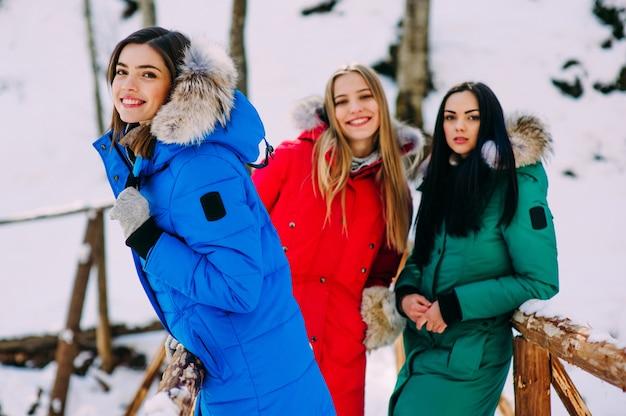 冬の山々で3人の若い女性