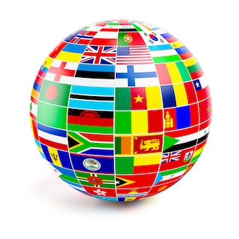 Threed globe sphere with flags of the world