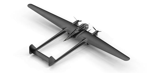 2 차 세계 대전 폭격기 항공기의 3 차원 모델 두 개의 꼬리와 넓은 날개를 가진 반짝이는 알루미늄 몸체 터보프롭 엔진 흰색 표면에 반짝이는 검은 비행기
