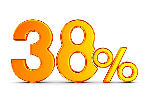 Трити восемь процентов на белом пространстве. изолированные 3d иллюстрации