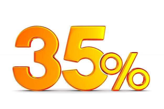 Тридцать пять процентов на белом пространстве. изолированные 3d иллюстрации
