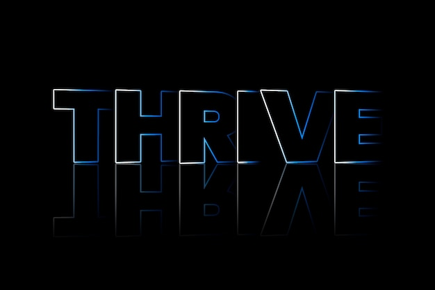 Thrive shadow style typography on black background