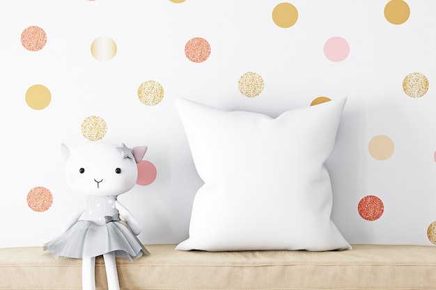 Throw pillows mockup kids