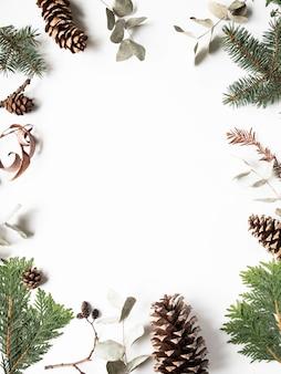 白い背景の上の冬の森の植物部分のフラットレイアウト創造的な自然なフレーム。 thuja、モミの木、ハンノキ、コーン、ユーカリ、ドライフラワー。植物の植物セット。コピースペース、トップビュー