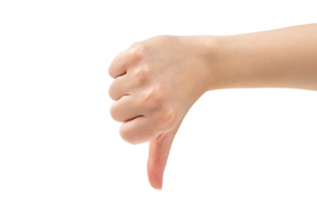Thumb down female hand sign isolated