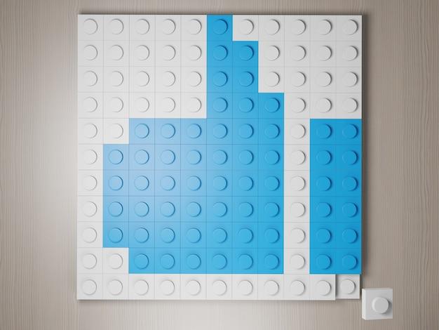 Большой палец вверх значок из блоков лего синий символ большого пальца вверх из строительных блоков 3d визуализации