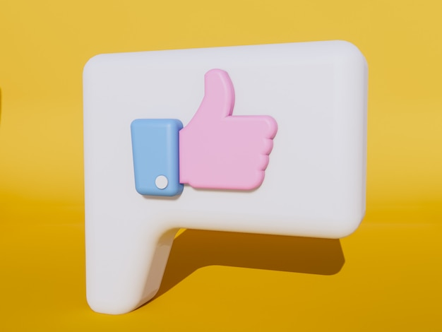 Thumb up , like icon 3d render.