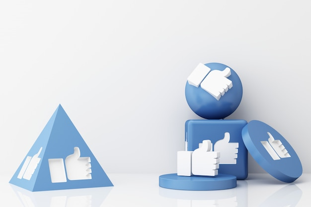 Thumb up symbol finger up icon like icon on blue geometric shapes 3d rendering