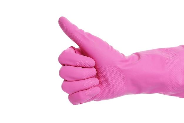 고무 장갑에 기호 위로 엄지. 핑크 글러브 ok 단열재. 고립.