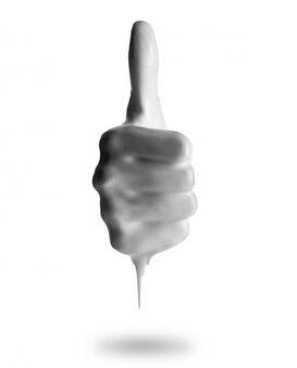 Недурно знак рукой, получая расплав, изолированные на белом