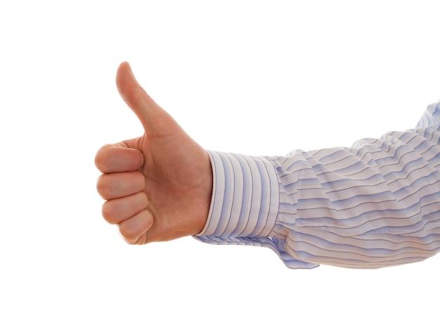 Палец вверх на белом фоне