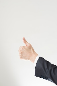 Thumbs-up with copy space