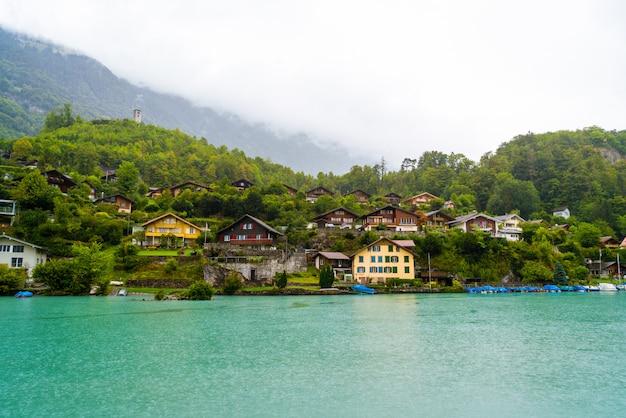 Thun lake with interlaken city